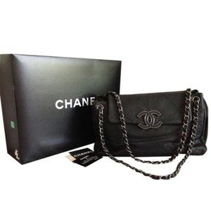 CHANEL quilted large leather bag